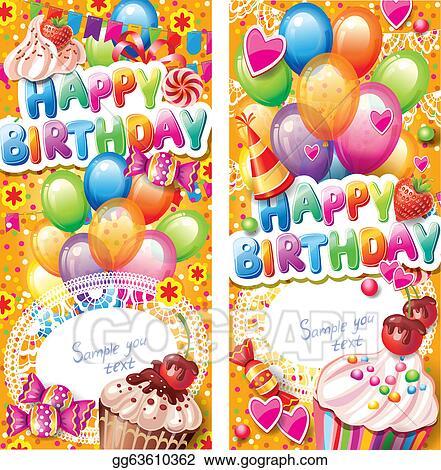 Vector Art Happy Birthday Vertical Cards Eps Clipart Gg63610362