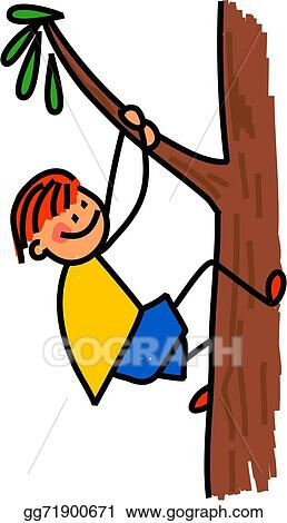 Stock Illustration Happy Boy Climbing Tree Clip Art Gg71900671