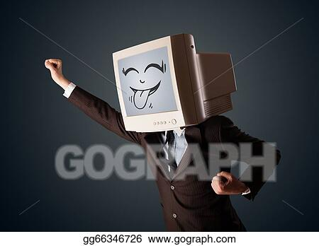 Clipart Happy Business Man With A Computer Monitor And A Smiley