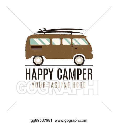 Happy Camper Logo Design Vintage Bus Illustration RV Truck Emblem Van Icon Template Surfing Equipment Caravan Adventure Concept