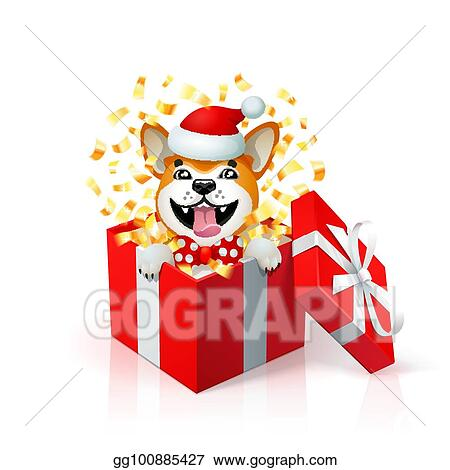 e67d47db525 Happy cartoon puppy in gift box wearing santas hat. Portrait of Akita inu  japanese dog as 2018 new year symbol. new year card. Christmas poster with  yellow ...