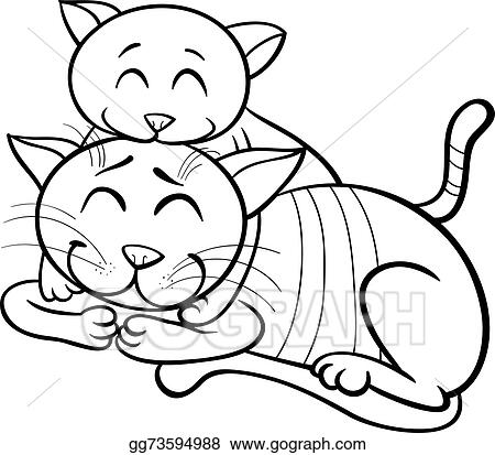 - Vector Art - Happy Cat And Kitten Coloring Book. Clipart Drawing Gg73594988  - GoGraph