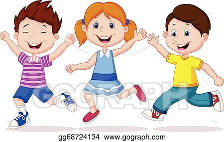 Vector Art - Happy children cartoon running . Clipart ...