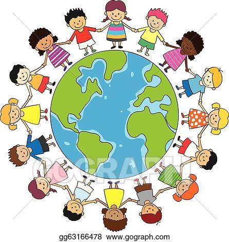 EPS Vector - Happy children holding hands. Stock Clipart ...