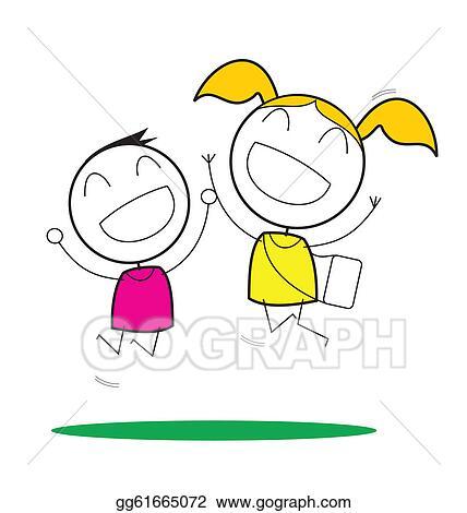 vector stock happy children clipart illustration gg61665072 gograph rh gograph com Happy People Clip Art happy children's day clipart black and white