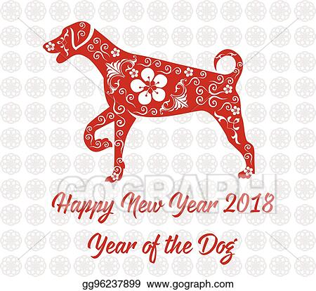 Vector Clipart - Happy chinese new year 2018 card year of dog ...