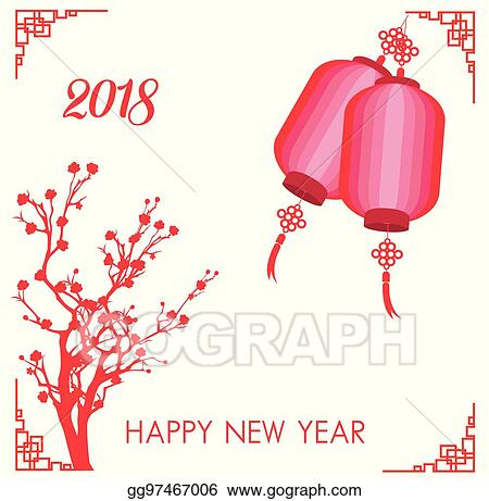 Vector Art - Happy chinese new year 2018 card - year of dog. Clipart ...
