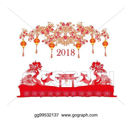 Vector Art - Happy chinese new year 2018 card, year of the dog. EPS ...