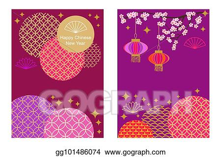happy chinese new year cards set colorful abstract geometric ornaments on purple background