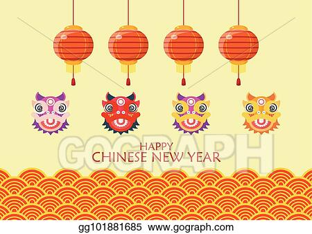 happy chinese new year with dancing lions and lanterns