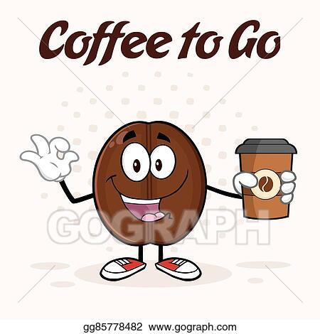 Happy Coffee Bean Cartoon