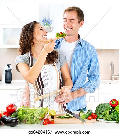 Stock Photo Happy Couple Cooking Together Dieting Healthy Food Stock Photography Gg64204167 Gograph