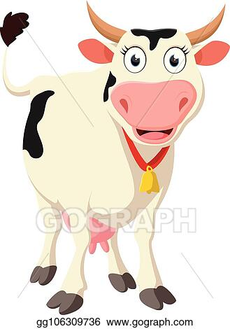 Cow standing. Eps illustration happy cartoon