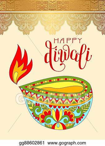 Vector art happy diwali greeting card with hand written happy diwali greeting card with hand written inscription to indi m4hsunfo