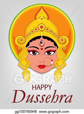 Vector art happy dussehra greeting card maa durga face for hindu happy dussehra greeting card maa durga face for hindu festival m4hsunfo