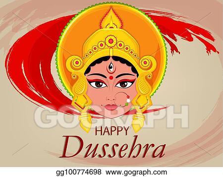 Vector illustration happy dussehra greeting card maa durga face happy dussehra greeting card maa durga face for hindu festival m4hsunfo