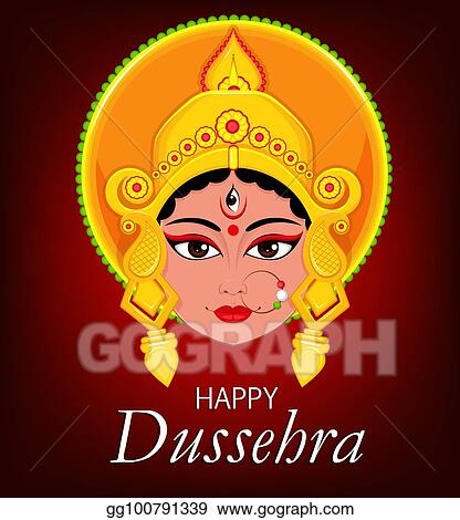 Vector art happy dussehra greeting card maa durga face for hindu happy dussehra greeting card maa durga face for hindu festival m4hsunfo