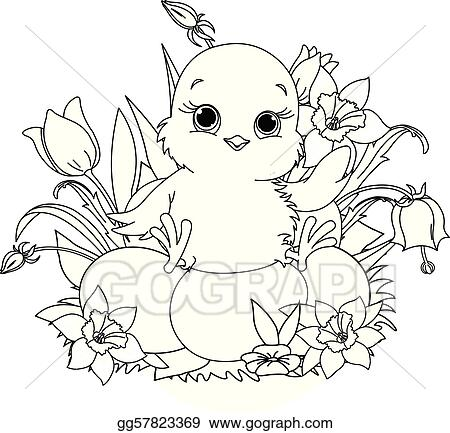 Vector Stock happy easter chick coloring page Clipart