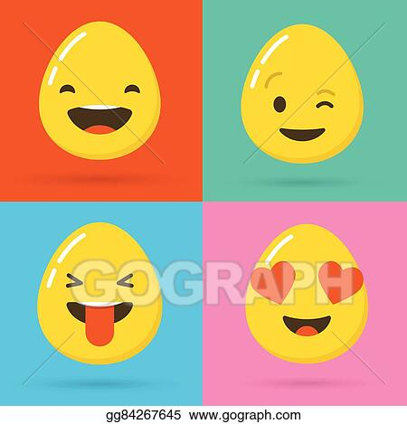 Happy Easter Eggs Emoticons Emoji Set Greeting Card