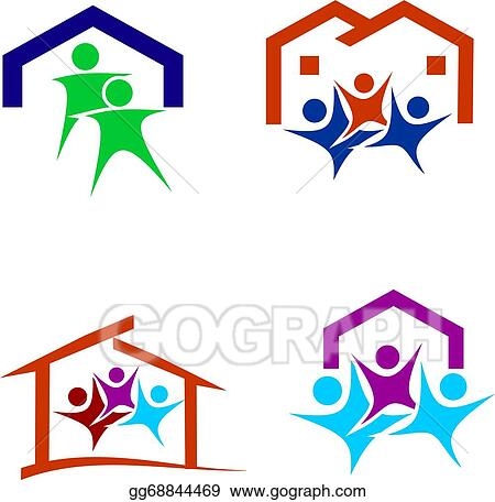 eps vector happy family in a new house logo stock clipart rh gograph com new house clipart free moving to new house clipart