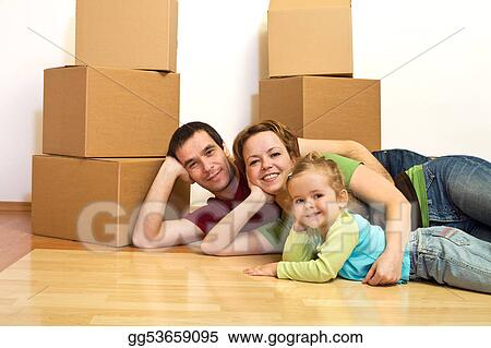 Stock Photograph - Happy family laying