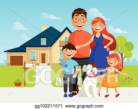 Vector Illustration Happy Family Move Into A New House Flat Vector Illustration In Cartoon Design Mother Father Sister Brother And Their Dog Near New Home Stock Clip Art Gg102211571 Gograph