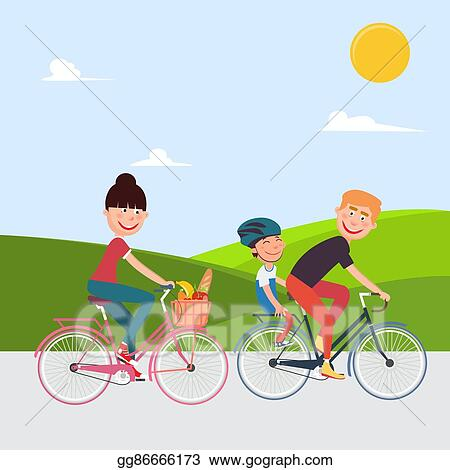 Happy Family Riding Bikes Woman On Bicycle Father And Son