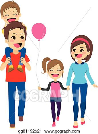 vector clipart happy family walking vector illustration rh gograph com happy family clip art free happy family clipart png