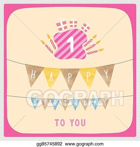 Vector Stock Happy First Birthday Card Clipart Illustration