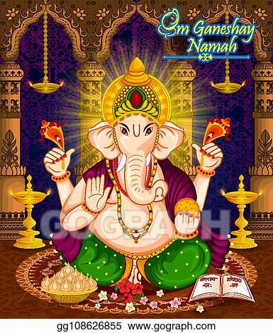 Vector Art Happy Ganesh Chaturthi Festival Celebration Of