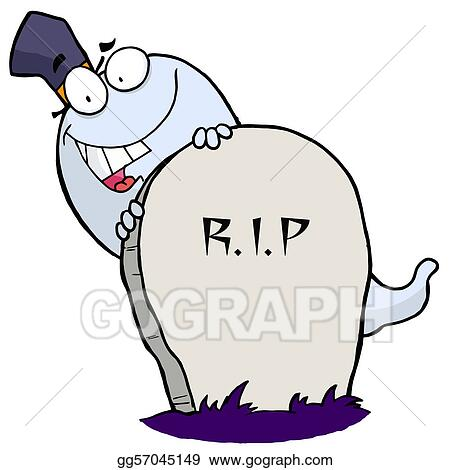 Vector Stock Happy Ghost Behind The Tombstone Clipart