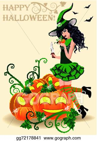 Happy Halloween Card. Sexy Witch