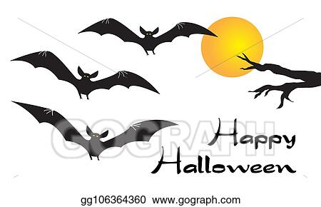 Stock Illustration Happy Halloween Card With Scary Flying Vampire Bats Yellow Moon And Bare Tree Branch On White Background Simple Flat Cartoon Vector Illustration Clip Art Gg106364360 Gograph