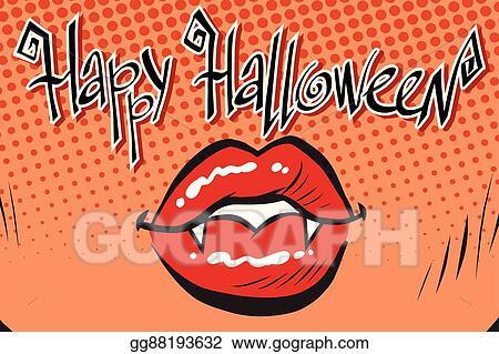 Vector Art Happy Halloween Mouth Female Vampire Clipart