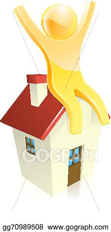 Vector Art Happy House Person Clipart Drawing Gg70989508 Gograph