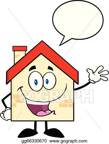 Vector Art Happy House With Speech Bubble Clipart Drawing