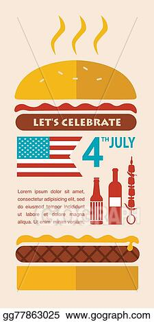 Vector Art Happy Independence Day Of America Card Or