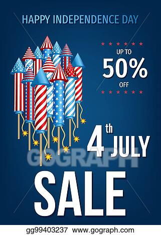 Vector Clipart - Happy independence day of the usa sale banner ...