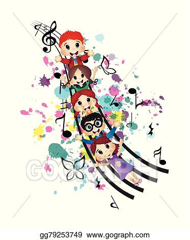Vector Stock - Happy kids and music  Stock Clip Art gg79253749 - GoGraph