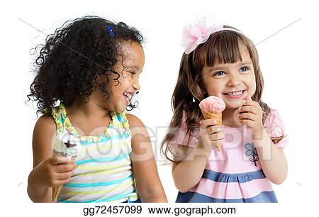 Happy Kids Two Girls Eating Ice Cream Isolated