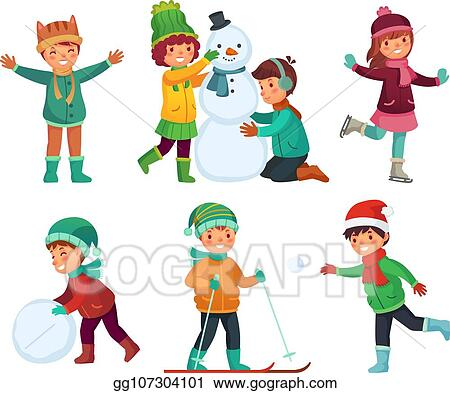 Winter fun for kids. happy cute children playing outdoors in winters hats.  christmas winter holiday cartoon vector