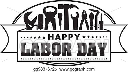 Vector Art Happy Labor Day Black Oval Celebrating Banner With Silhouettes Of Workers Tools Hammer Screwdriver Pliers File Soldering Iron Pliers Awl Etc Clipart Drawing Gg98376725 Gograph