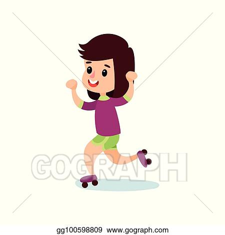 Vector Stock Happy Little Girl Character Skating On Rollerblades