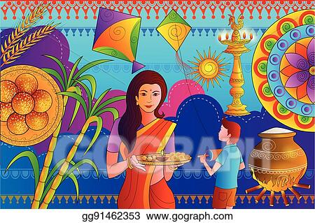 Clip Art Vector Happy Makar Sankranti Festival Celebration