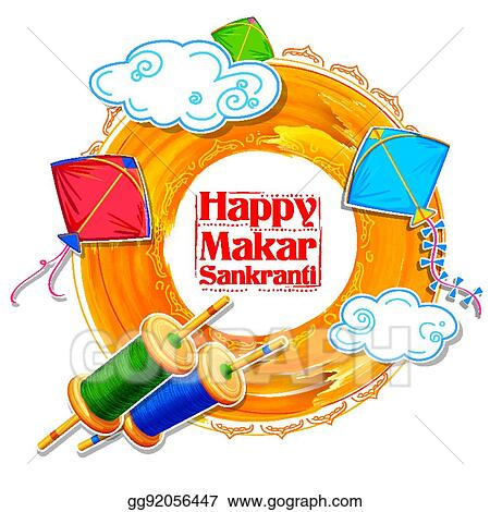 eps vector happy makar sankranti wallpaper with colorful kite string for festival of india stock clipart illustration gg92056447 gograph https www gograph com clipart license summary gg92056447