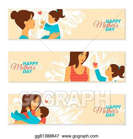 Happy Mothers Day Banners Vector Illustration