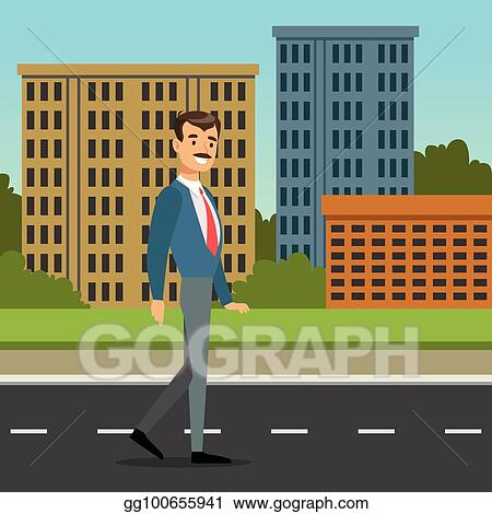 Vector Stock Happy Mustached Man Walking Down The Street City