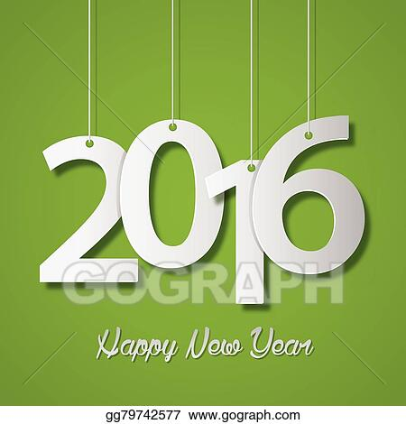 eps vector happy new year 2016 creative greeting card design on green background stock clipart illustration gg79742577 gograph gograph