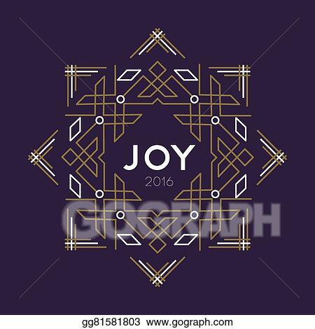 happy new year 2016 frame art deco joy card line