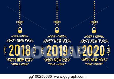 happy new year 2018 2019 2020 design elements